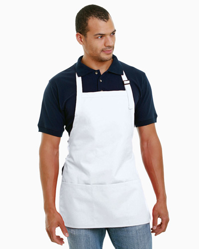 65% polyester / 35% cotton Deluxe Medium Bib Apron