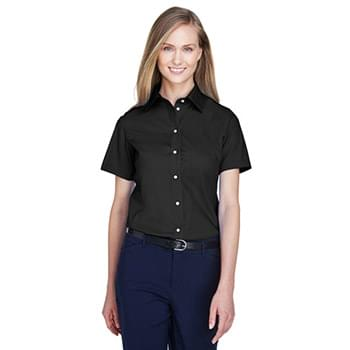 Ladies' Crown WovenCollection SolidBroadcloth Short-Sleeve Shirt