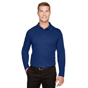 CrownLux Performance? Men's Plaited Long Sleeve Polo