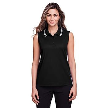 Ladies' CrownLux Performance Plaited Tipped Sleeveless Polo