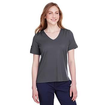Ladies' CrownLux Performance Plaited Rolled-Sleeve Top