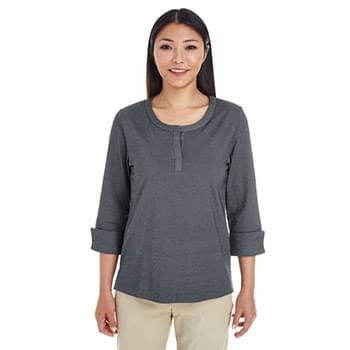 Ladies' Central Cotton Blend M?lange Knit Top