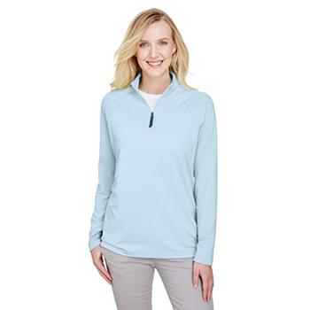 CrownLux Performance? Ladies' Clubhouse Micro-Stripe Quarter-Zip