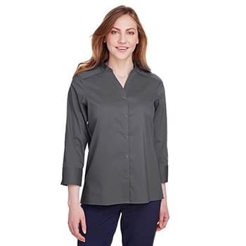 Ladies' Crown  Collection Stretch Broadcloth 3/4 Sleeve Blouse