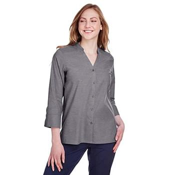 Ladies' Crown Collection Stretch Pinpoint Chambray 3/4 Sleeve Blouse