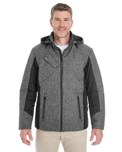 Men's Midtown Insulated Fabric-Block Jacket with Crosshatch Mlange