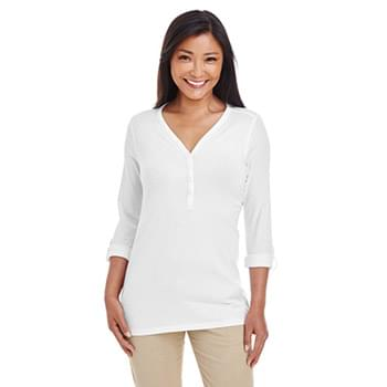 Ladies' Perfect Fit? Y-Placket Convertible Sleeve Knit Top