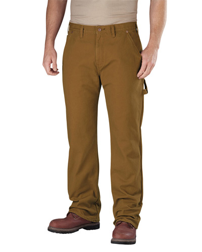 Men's Relaxed Straight-Fit Flannel-Lined Carpenter Duck Jean Pant