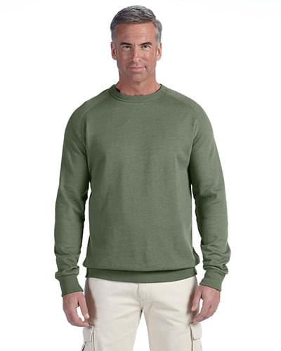 7 oz. Organic/Recycled Heathered Fleece Raglan Crew
