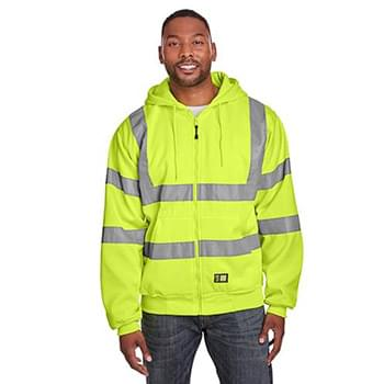 Men's Berne Hi-Vis Class 3 Lined Full-Zip Hooded Sweatshirt