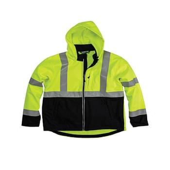 Men's Tall Hi-Vis Class 3 Hooded Softshell Jacket