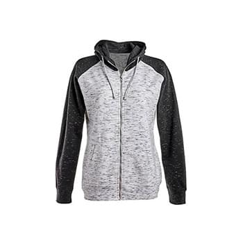 Ladies' Mlange Fleece 2-Tone Full-Zip Hooded Sweatshirt
