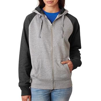 Ladies' Glitter French Terry Contrast Full-Zip Hood