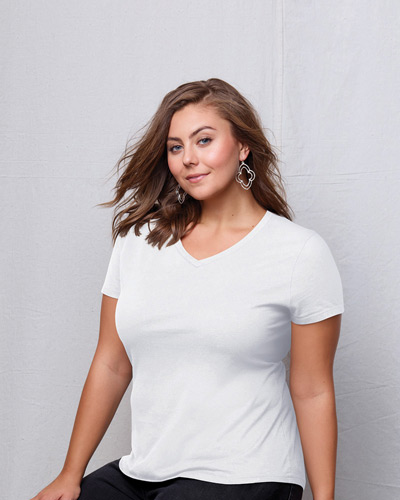 Ladies' JMS 4.5 oz., 100% Ringspun Cotton V-Neck T-Shirt