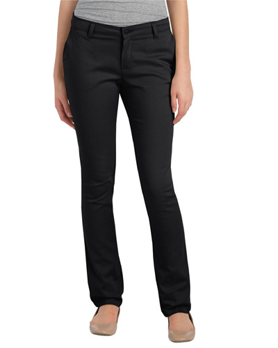 Ladies' Juniors Schoolwear Classic Fit Straight-Leg Twill Stretch Pant