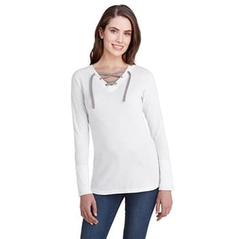 Ladies' Long-Sleeve Lace Up T-Shirt