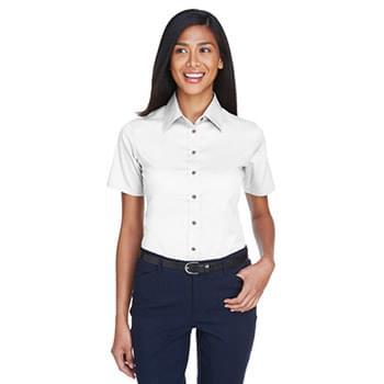 Ladies' Easy Blend? Short-Sleeve Twill Shirt with?Stain-Release