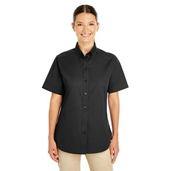 Ladies' Foundation 100% Cotton Short-Sleeve Twill Shirt with Teflon?