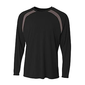 Men's Spartan Long Sleeve Color Block Crew Neck T-Shirt