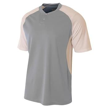 Adult Performance Contrast 2 Button Baseball Henley T-Shirt