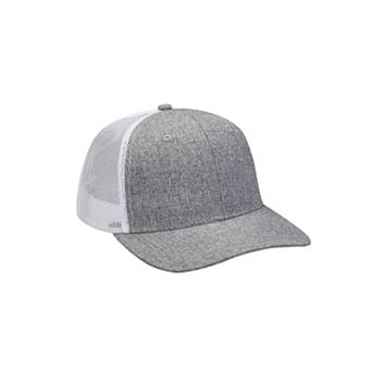 Heather Woven/Soft Mesh Trucker Cap