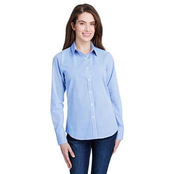Ladies' Microcheck Gingham Long-Sleeve Cotton Shirt