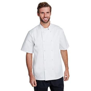 Unisex Studded Front Short-Sleeve Chef's Coat