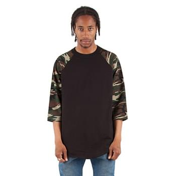 Adult 8.9 oz., 3/4-Sleeve Camo Raglan T-Shirt