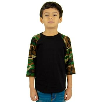 Youth 6 oz., 3/4-Sleeve Camo Raglan T-Shirt