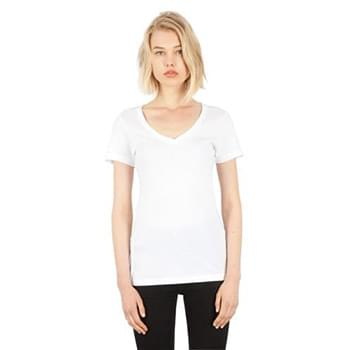 Ladies' Combed Ring-Spun Cotton Deep-V T-Shirt