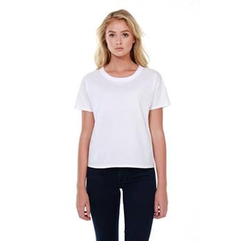 Ladies' 3.5 oz., 100% Cotton Raw-Neck Boxy T-Shirt