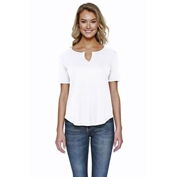 Ladies' 4.3 oz., CVC  Slit V-Neck T-Shirt
