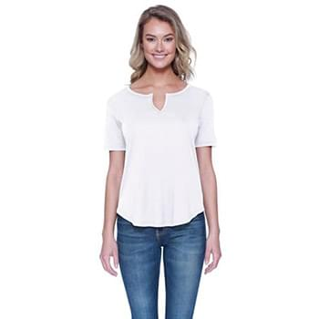 Ladies' Cotton/Modal Slit V-Neck