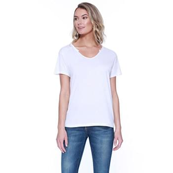 Ladies' 3.69 oz., 50% Cotton / 50% Modal Open V-Neck T-Shirt