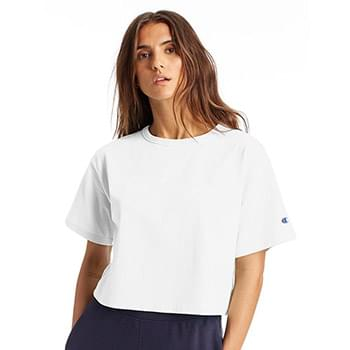 Ladies' Cropped Reverse Weave T-Shirt