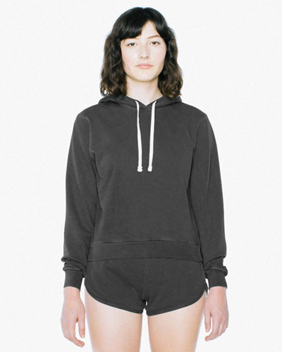 Ladies' French Terry Garment-Dyed Mid-Length Hooded Sweatshirt