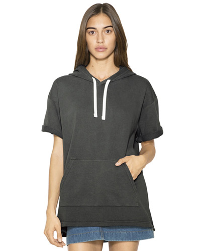 Unisex French Terry Garment-Dyed Kangaroo Pocket Short-Sleeve Hooded Sweatshirt