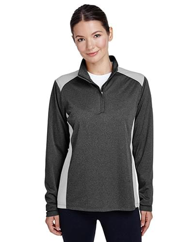 Ladies' Excel Mlange Interlock Performance Quarter-Zip Top