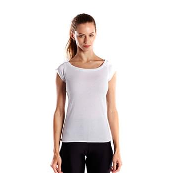 Ladies' 3.8 oz. Cap Sleeve Raw Edge Open Neck