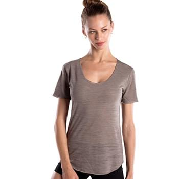 Ladies' Scalloped Hem Short-Sleeve Scoop Neck